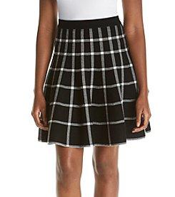 Chelsea & Theodore® Grid Print Flared Skirt