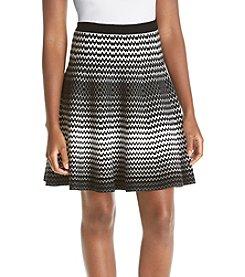 Chelsea & Theodore® Zig Zag Print Flared Skirt