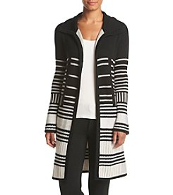 Cupio Striped Open Front Car Coat