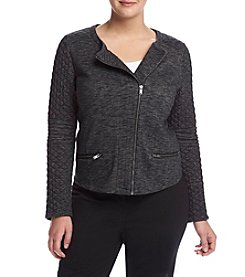 Ruff Hewn GREY Plus Size Knit Moto Jacket