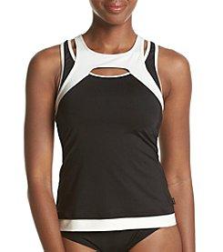 Calvin Klein ® Mesh Overlay Colorblock Tankini Top