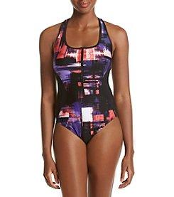 Calvin Klein ® Half-Zip Racerback Color Block One Piece