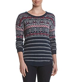Le Tigre Crew Neck Fairisle Drop Shoulder Sweater
