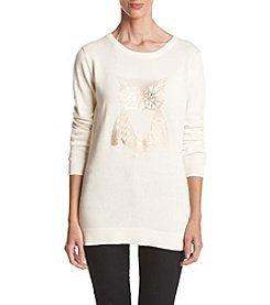 Le Tigre ® Crew Neck High Low Owl Sweater