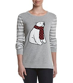 Le Tigre Crew Neck High Low Polar Bear Sweater