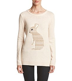 Le Tigre Crew Neck High Low Bunny Sweater
