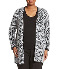 Relativity® Plus Size Geometric Pattern Eyelash Knit Cardigan