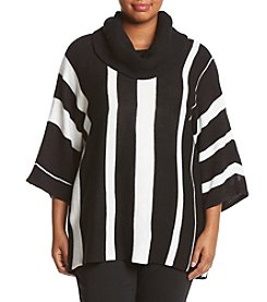 Relativity ® Plus Size Vertical Stripe Cowl Neck Sweater