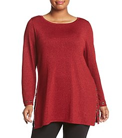 Relativity ® Plus Size Fine Gauge Grommet Trim Tunic