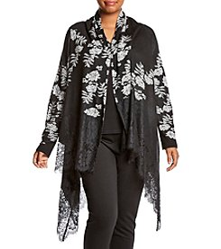 Relativity ® Plus Size Lace Trim Floral Jacquard Cardigan