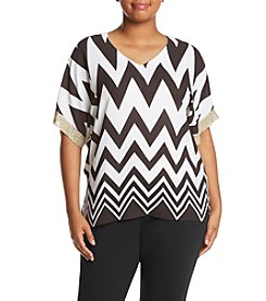 Relativity® Plus Size Chevron Print Blouse