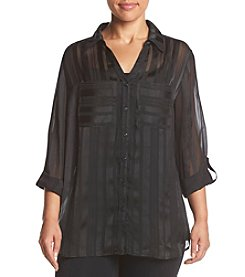 Relativity ® Plus Size Shadow Stripe Blouse