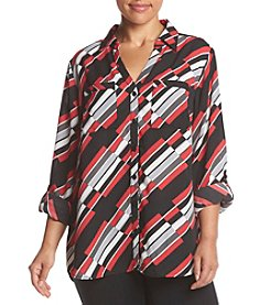 Relativity® Plus Size Printed Button Front Blouse