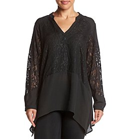 Relativity® Plus Size Lace Shark Bite Blouse