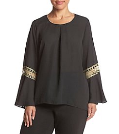 Relativity ® Plus Size Gold Trim Bell Sleeve Blouse