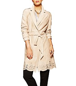 Jones New York® Faux Suede Laser Cut Trench Coat