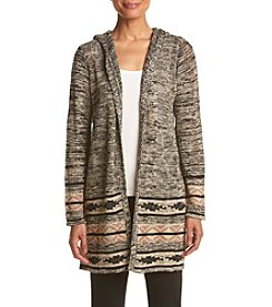 Oneworld® Marled Hooded Cardigan With Printed Border