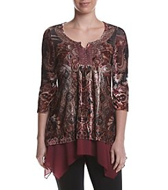 Oneworld® Printed Velvet Top
