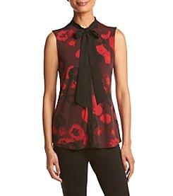 Anne Klein® Garden Print Bow Blouse