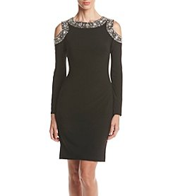 Betsy & Adam® Beaded Cold Shoulder Dress