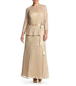 Chetta B. Plus Size Metallic Dress