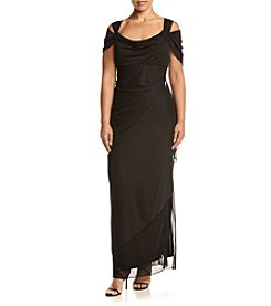 Alex Evenings® Plus Size Long Mesh Cold Shoulder Dress