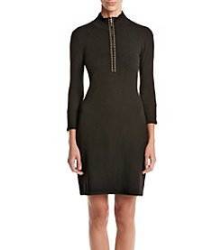 Calvin Klein ® Zip Mock Neck Stud Trim Sweater Dress