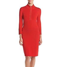 Calvin Klein ® Zip Mock Neck Stud Trim Sweater Dress