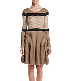 Calvin Klein Striped Fit And Flare Sweater Dress