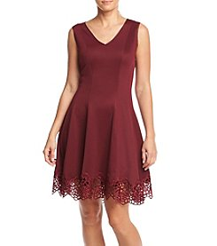 Chetta B. Crochet Hem Scuba Dress