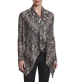 Bobeau® Multi Print One Button Cardigan