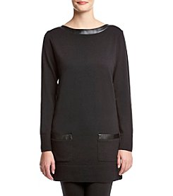 Eight Eight Eight ® Faux Leather Trim Tunic Sweater
