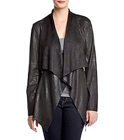 Philosophy by Republic Clothing Drape Front Faux Suede Jacket