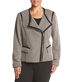 Jones New York® Plus Size Asymmetric Zip Herringbone Jacket