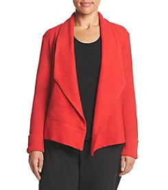 Jones New York® Plus Size Drape Front Boiled Wool Cardigan