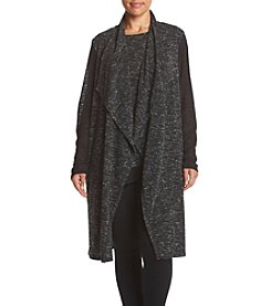 Jones New York® Plus Size Drape Front Mix Media Duster