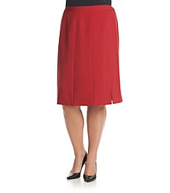 Kasper® Plus Size Solid Stretch Pleated Skirt