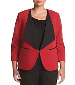 Nine West® Plus Size Contrast Lapel Open Jacket