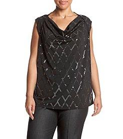 Nine West® Plus Size Embellished Drape Neck Cami