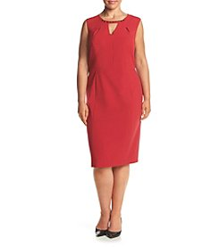 Nine West ® Plus Size Embellished Neckline Sheath Dress