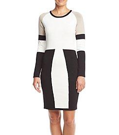 Calvin Klein 3/4 Sleeve Color Block Sweater