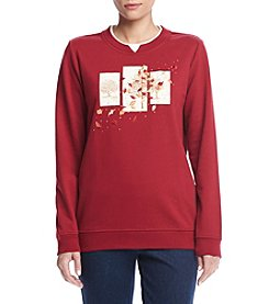 Breckenridge® Petites' Tree Triptych Embellished Crew Neck Fleece