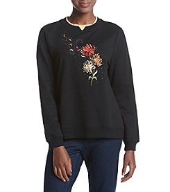 Breckenridge® Petites' Beautiful Blowing Dahlias Embellished Crew Neck Fleece