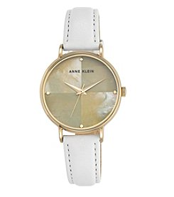 Anne Klein® Mother-of-Pearl Dial White Leather Strap Watch