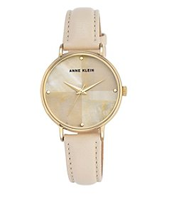Anne Klein® Mother-of-Pearl Dial Ivory Leather Strap Watch