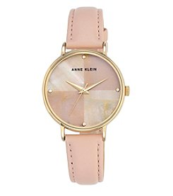 Anne Klein® Mother-of-Pearl Dial Blush Leather Strap Watch