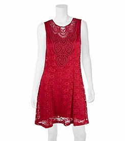 A. Byer Lace Shift Dress With Crochet Trim