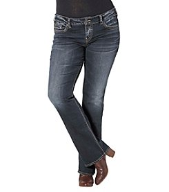 Silver Jeans Co. Plus Size Elyse Mid Rise Dark Was Slim Bootcut Jeans