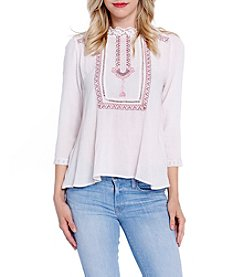 Skylar & Jade™ Three-Quarter Sleeve Embroidered Peasant Blouse