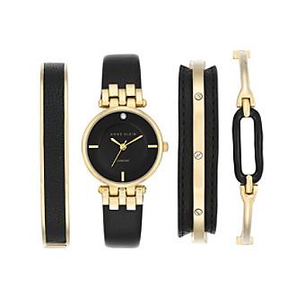 Anne Klein® Black and Goldtone Diamond Dial Watch Set